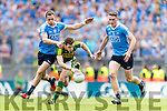 David Moran Kerry in action against Stephen O'Brien and Brian Fenton Dublin in the All Ireland Senior Football Semi Final at Croke Park on Sunday.