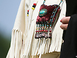 A Native American pouch is carried by a dancer at the 8th Annual Red Wing PowWow in Virginia Beach, Virginia.