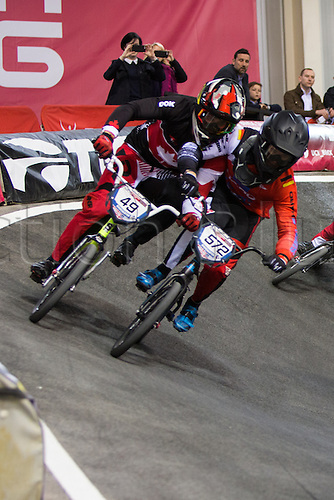 10.04.2016. National Cycling Centre, Manchester, England. UCI BMX Supercross World Cup Finals. A bit of elbowing for Tory Nyhaug and Luis Brethauer.