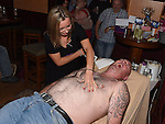 Jimmy Pepper who had his chest waxed by Sharon Gregory to raise money for the Chance For Alice fund in the Dunleer Inn.  Photo:Colin Bell/pressphotos.ie