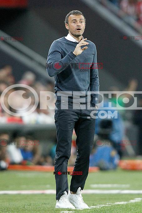 FC Barcelona's coach Luis Enrique Martinez during Supercup of Spain 1st match.August 14,2015. (ALTERPHOTOS/Acero)