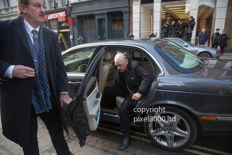 Pic shows: Sir David Jason arrives with John Challis and Sue Holderness - who play Boycie and Marlene in the show<br /> <br /> Funeral of Roger Lloyd-Pack - &quot;Trigger&quot; from Only Fools and Horses.<br /> <br /> Mourners arriving at the service at Actors Church in Covent Garden -<br /> <br /> <br /> <br /> <br /> Pic by Gavin Rodgers/Pixel 8000 Ltd