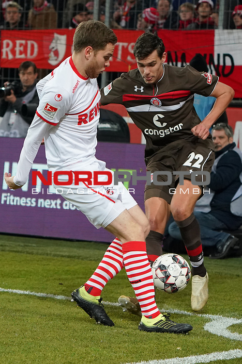 08.02.2019, RheinEnergieStadion, Koeln, GER, 2. FBL, 1.FC Koeln vs. FC St. Pauli,<br />  <br /> DFL regulations prohibit any use of photographs as image sequences and/or quasi-video<br /> <br /> im Bild / picture shows: <br /> Justin Hoogma (St Pauli #22), im Zweikampf gegen  Benno Schmitz (FC Koeln #2), <br /> <br /> Foto &copy; nordphoto / Meuter