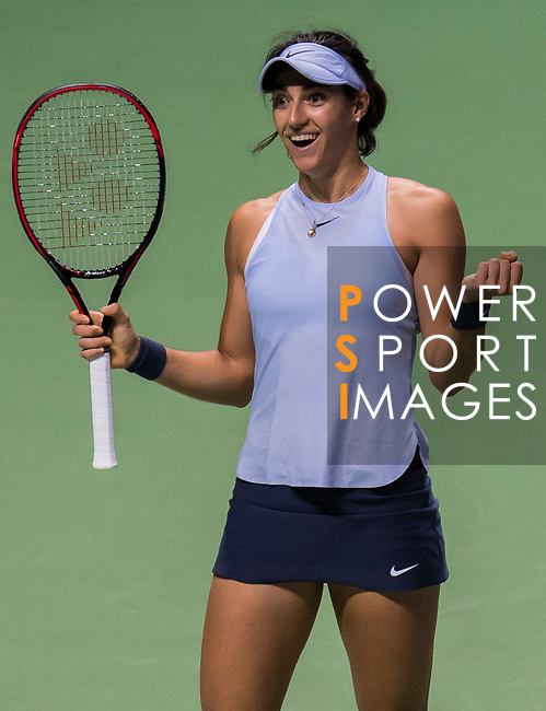 Caroline Garcia of France celebrates victory in her singles match against Caroline Wozniacki of Denmark during the BNP Paribas WTA Finals Singapore presented by SC Global at Singapore Sports Hub on 27 October 2017 in Singapore. Photo by Victor Fraile / Power Sport Images