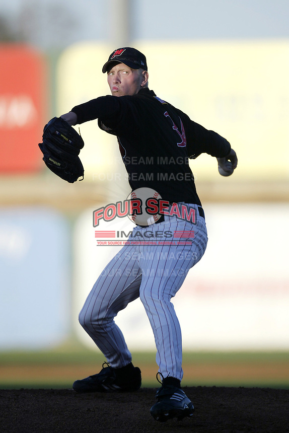 Ben Hendrickson of the High Desert Mavericks pitches against the San Bernardino Stampede during a California League 2002 season game at San Manuel Stadium, in San Bernardino, California. (Larry Goren/Four Seam Images)