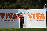 Jack Senior (ENG) on the 6th tee during Round 1 of the Challenge Tour Grand Final 2019 at Club de Golf Alcanada, Port d'Alcúdia, Mallorca, Spain on Thursday 7th November 2019.<br /> Picture:  Thos Caffrey / Golffile<br /> <br /> All photo usage must carry mandatory copyright credit (© Golffile | Thos Caffrey)