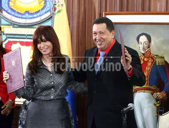 President of Venezuela, Hugo Chavez, and President of Argentina, Cristina Fernandez de Kirchner, during her visit to Miraflores Palace in Caracas.