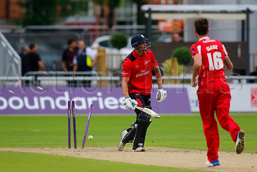 July 23rd 2017; Emirates Old Trafford, Manchester, England; Natwest T20 Blast; Lancashire versus Durham; Jack Burnham of Durham is bowled by Jordan Clark of Lancashire and Durham are 78-3 in response to the Lancashire score of 174-5