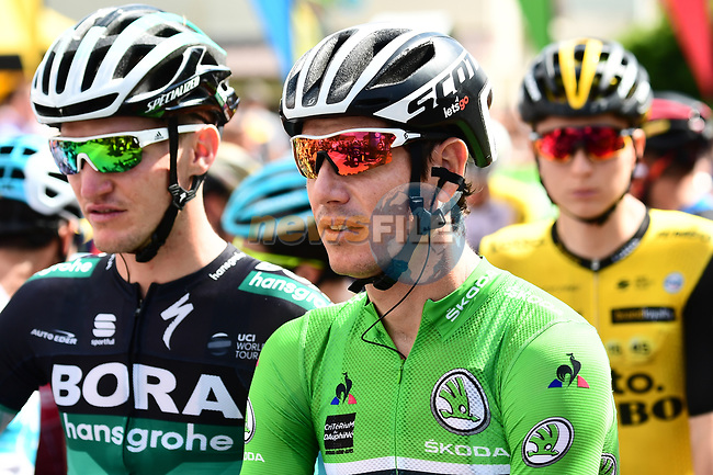 Maillot Vert Daryl Impey (RSA) Mitchelton-Scott ready for the start of Stage 6 of the 2018 Criterium du Dauphine 2018 running 110km from Frontenex to La Rosiere, France. 9th June 2018.<br /> Picture: ASO/Alex Broadway | Cyclefile<br /> <br /> <br /> All photos usage must carry mandatory copyright credit (© Cyclefile | ASO/Alex Broadway)