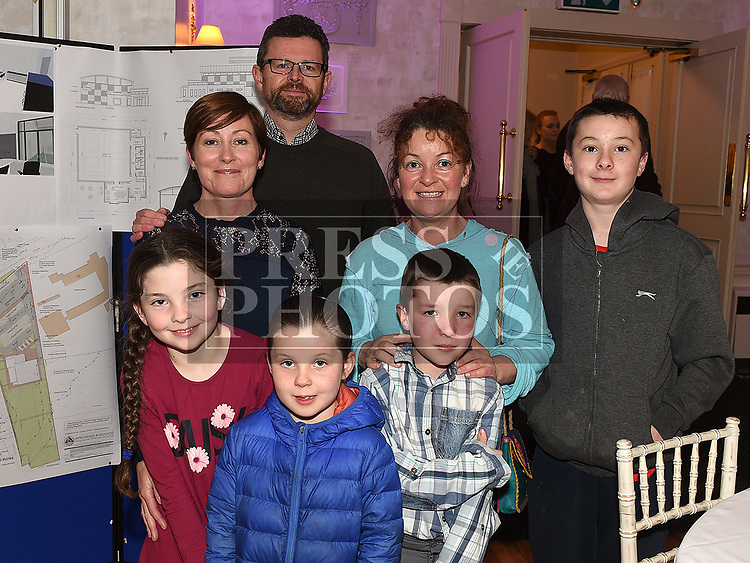 Mary O'Broin, Conor Brady, Sarah, Emma, Conor, Brian and Lucy O'Gorman at the launch of Slane Community Centre monster draw in the Conyngham Arms hotel. Photo:Colin Bell/pressphotos.ie