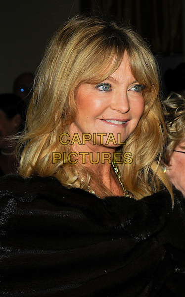 GOLDIE HAWN .arriving at the 7th Annual Living Legends of Aviation Awards at the Beverly Hilton Hotel in Beverly Hills, California, USA, January 22nd, 2010.  .arrivals portrait headshot black fringe fur profile brown wrap .CAP/ROT.©Lee Roth/Capital Pictures.