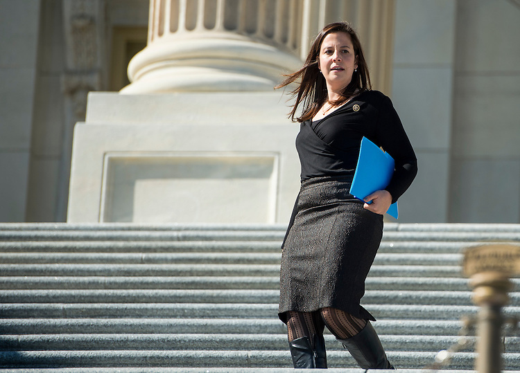 UNITED STATES - OCTOBER 23: Rep. Elise Stefanik, R-N.Y., walks down the House steps following a vote in the Capitol on Friday, Oct. 23, 2015. (Photo By Bill Clark/CQ Roll Call)