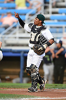 Jamestown Jammers catcher Deybi Garcia (7) during a game against the Vermont Lake Monsters on July 12, 2014 at Russell Diethrick Park in Jamestown, New York.  Jamestown defeated Vermont 3-2.  (Mike Janes/Four Seam Images)