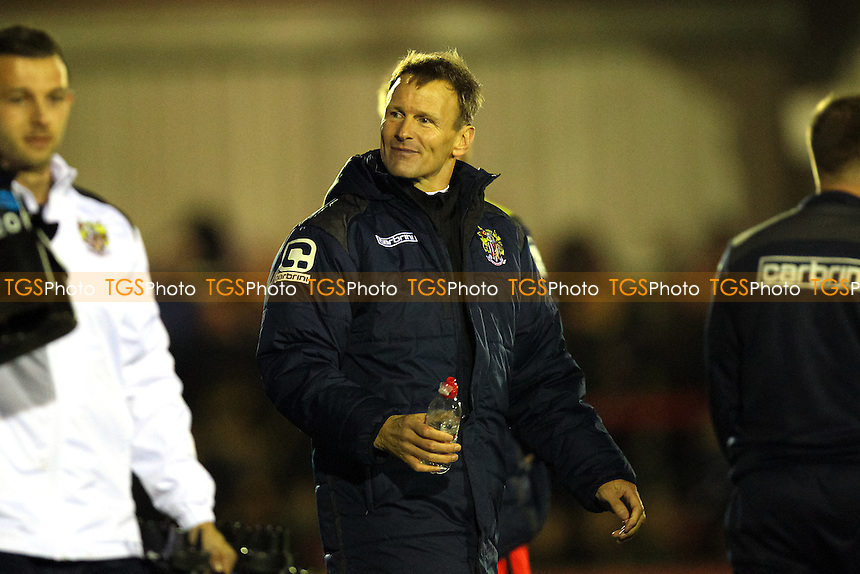 Stevenage manager Teddy Sheringham celebrates victory after the game during AFC Wimbledon vs Stevenage, Sky Bet League 2 Football at the Cherry Red Records Stadium, Kingston, England on 12/12/2015