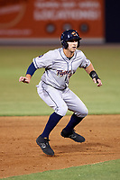 Lakeland Flying Tigers right fielder Ross Kivett (20) leads off second base during a game against the Tampa Yankees on April 7, 2017 at George M. Steinbrenner Field in Tampa, Florida.  Lakeland defeated Tampa 5-0.  (Mike Janes/Four Seam Images)