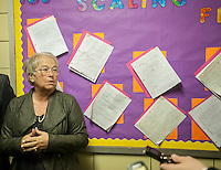 NYC Dept. of Education Chancellor Carmen Fariña visits MS 223, The Laboratory School of Finance and Technology, in the Bronx borough of New York on Thursday, January 2, 2014, her first day of work.New York Mayor Bill De Blasio appointed career educator Fariña as the head of the New York City public school system.  (© Richard B. Levine)