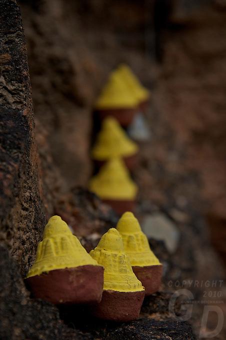 Mini Stupas used for worship along the road above Thimphu,Bhutan