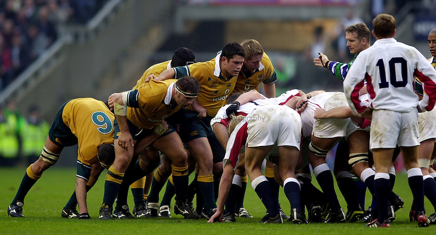 Photo. Richard Lane.England v Australia at Twickenham. 16-11-2002.Investec Challenge Cook Cup..Australia front row(lt to rt), Patricio Noriega, Jeremy Paul and Bill Young.