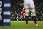 Wales fullback Leigh Halfpenny lines up a penalty kick.<br /> 2015 RBS 6 Nations<br /> Wales v England<br /> Millennium Stadium <br /> 06.02.15<br /> ©Steve Pope -SPORTINGWALES
