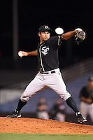Omaha Storm Chasers pitcher Ramon Troncoso (24) delivers a pitch during a game against the Nashville Sounds on May 19, 2014 at Herschel Greer Stadium in Nashville, Tennessee.  Nashville defeated Omaha 5-4.  (Mike Janes/Four Seam Images)