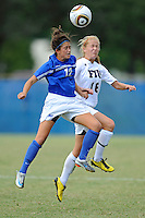 10 October 2010:  FIU midfielder/forward Nicole DiPerna (16) and Middle Tennessee midfielders/forward Paige Goeglein (12) battle over a chance to head the ball as the Middle Tennessee Blue Raiders defeated the FIU Golden Panthers, 3-1, at University Park Stadium in Miami, Florida.