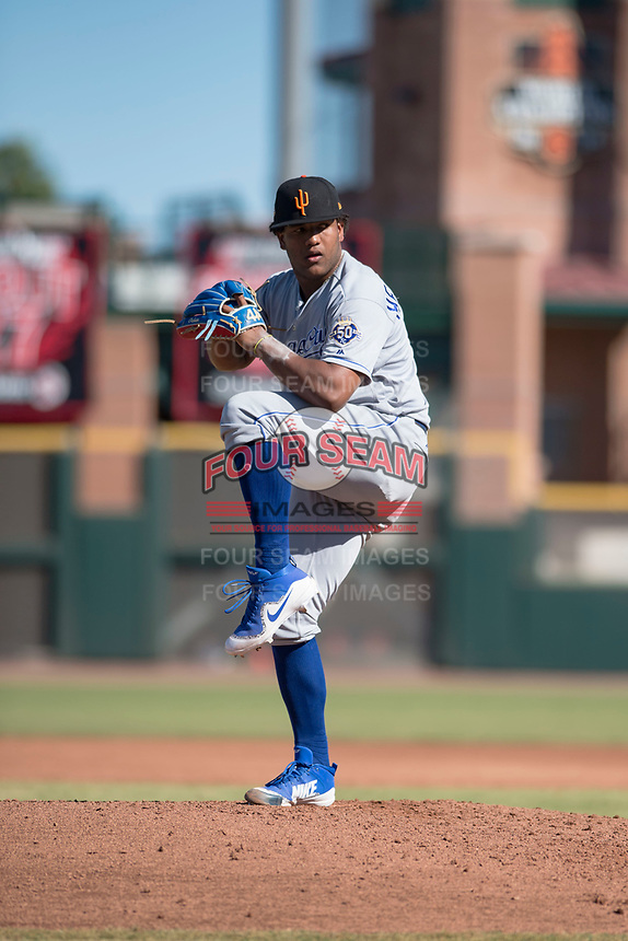 Surprise Saguaros relief pitcher Arnaldo Hernandez (37), of the Kansas City Royals organization, delivers a pitch during an Arizona Fall League game against the Scottsdale Scorpions at Scottsdale Stadium on October 26, 2018 in Scottsdale, Arizona. Surprise defeated Scottsdale 3-1. (Zachary Lucy/Four Seam Images)