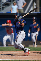 State College Spikes outfielder Jhohan Acevedo (28) at bat during a game against the Batavia Muckdogs August 23, 2015 at Dwyer Stadium in Batavia, New York.  State College defeated Batavia 8-2.  (Mike Janes/Four Seam Images)