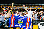Solna 2014-07-24 Fotboll Europa League AIK - Linfield FC :  <br /> AIK:s supportrar &auml;r glada efter matchen och segern &ouml;ver Linfield i kvalet till Europa League<br /> (Foto: Kenta J&ouml;nsson) Nyckelord:  AIK Gnaget Friends Arena Linfield LFC Europa League Kval jubel gl&auml;dje lycka glad happy supporter fans publik supporters