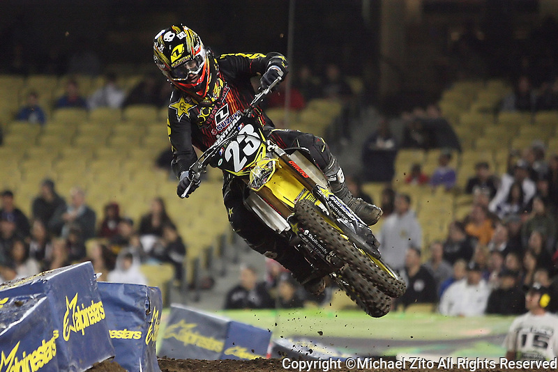 01/22/11 Los Angeles, CA:  Martin Davalos during the 1st ever AMA Supercross held at Dodger Stadium.