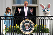 United States President Donald J. Trump, accompanied by First Lady Melania Trump and the Easter Bunny, delivers remarks at the White House Easter Egg Roll at the White House in Washington, D.C. on April 22, 2019. <br /> Credit: Kevin Dietsch / Pool via CNP