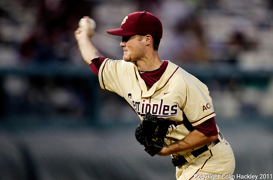 TALLAHASSEE, FL 10-FSU-TAMUBASE11 CH-Florida State's Mack Waugh throws against Texas A&M Sunday at Dick Howser Stadium during NCAA Super Regional action in Tallahassee. The Seminoles beat the Aggies 23-9 to stay alive in the best of three series...COLIN HACKLEY PHOTO