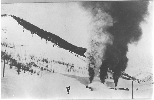 D&amp;RGW rotary plow train in deep snow with two engines as motive power.<br /> D&amp;RGW  Crested Butte Branch, CO