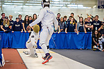 UNIVERSITY PARK, PA - MARCH 25: Nicholas Hanahan of Notre Dame University takes on Curtis McDowald of St John's University in the epee preliminary round during the Division I Men's Fencing Championship held at the Multi-Sport Facility on the Penn State University campus on March 25, 2018 in University Park, Pennsylvania. (Photo by Doug Stroud/NCAA Photos via Getty Images)
