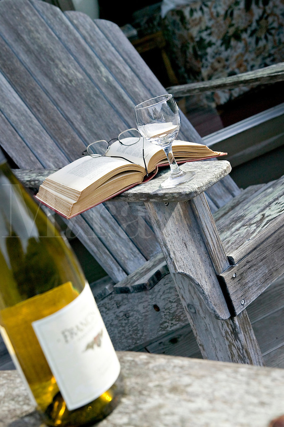 Relaxation with a good book and a glass of wine
