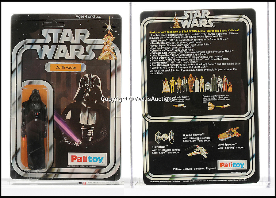 BNPS.co.uk (01202 558833)<br /> Pic: Vectis/BNPS<br /> <br /> Palitoy Star Wars Darth Vader 3 3/4&quot; Vintage Figure sold for &pound;1,320.<br /> <br /> A tiny plastic rocket from a Star Wars action figure has sold for almost &pound;2,000 as part of a huge &pound;160,000 sale of rare toys relating to the film franchise.<br /> <br /> The red missile measures just 28mm long and was attached to the back of a prototype figure of bounty hunter Boba Fett.<br /> <br /> A complete prototype Boba Fett can sell for &pound;13,000 but thanks to a letter of authentication and grading by the Action Figure Authority (AFA), the small rocket made &pound;1,920 by itself at auction.<br /> <br /> It was one of almost 700 Star Wars lots that sold for &pound;160,000, with many toys that originally sold for &pound;1.50 achieving four-figure sums.<br /> <br /> With the release of Star Wars:The Force Awakens imminent, interest in memorabilia from the franchise has never been higher.