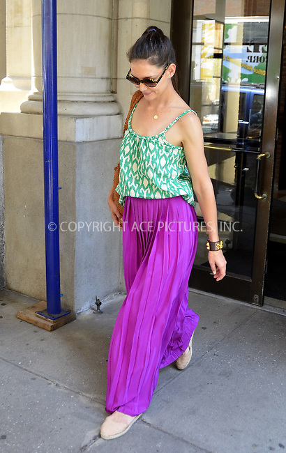 WWW.ACEPIXS.COM . . . . .  ....June 21 2012, New York City....Actress Katie Holmes beats the heat in a purple summer skirt as she visted the Bowery Hotel on June 21 2012 in New York City....Please byline: CURTIS MEANS - ACE PICTURES.... *** ***..Ace Pictures, Inc:  ..Philip Vaughan (212) 243-8787 or (646) 769 0430..e-mail: info@acepixs.com..web: http://www.acepixs.com