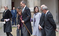 Kings of Spain, King Felipe VI of Spain and Queen Letizia of Spain delivers the Cervantes prize for literature in Spanish to the Uruguayan writer Ida Vitale at the Paraninfo of the Alcala University in the World Heritage City of Alcala de Henares near Madrid on April 23, 2019.<br /> From  L-R: Rector of the Alcala University Fernando Galvan, Alcala Mayor Javier Rodriguez, Vice Prime Minister of Spain Carmen Calvo, King Felipe VI of Spain, Queen Letizia of Spain, Acting President of Madrid community Pedro Rollan Spanish Culture Minister Jose Guirau