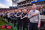 Philadelphia Union head coach Jim Curtin and his team stand for the national anthem before the game Saturday, March 14, 2015, during the Major League Soccer game at Rio Tiinto Stadium in Sandy, Utah. (© 2015 Douglas C. Pizac)
