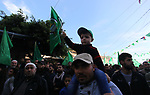 Palestinian Hamas supporters attend a rally marking the 32th anniversary of the founding of the Hamas movement, in Gaza city, December 14, 2019. Photo by Mahmoud Ajjour