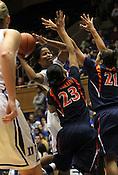 Ka'lia Johnson shoots past Virginia defense. Duke woman's basketball beat Virginia 77-66 on Monday, January 2, 2012 at Cameron Indoor Stadium in Durham, NC. Photo by Al Drago.