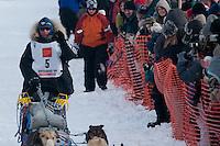 Musher # 5 Rick Larson at the Restart of the 2009 Iditarod in Willow Alaska