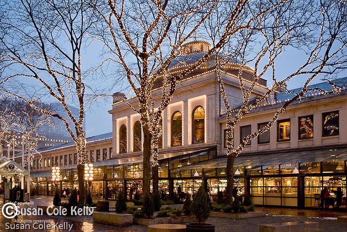Christmas lights illuminate Quincy Market, Boston, MA, USA