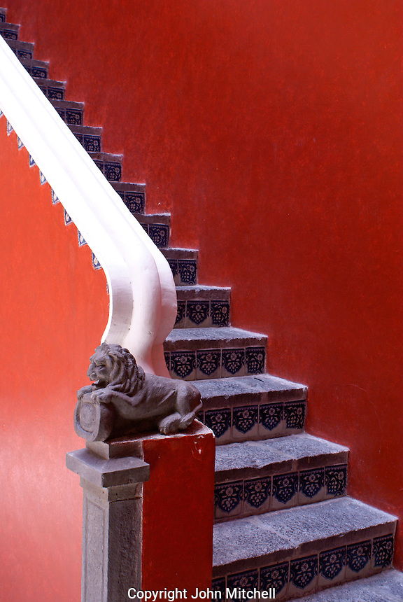 Tiled stairway  the  Museo Casa del Alfenique, Puebla, Mexico. The historical center of Puebla is a UNESCO World Heritage Site.