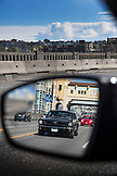 CANADA, Vancouver, British Columbia, black Shelby Mustang driving across the Granville Street Bridge