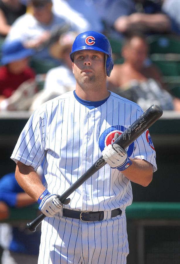 Mar 27, 2007; Mesa, AZ, USA; Chicago Cubs catcher (8) Michael Barrett against the Kansas City Royals at Hohokam Park in Mesa, AZ. Mandatory Credit: Mark J. Rebilas