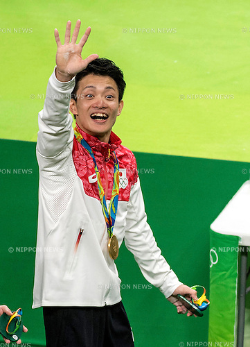 Yusuke Tanaka (JPN),<br /> AUGUST 8, 2016 - Artistic Gymnastics :<br /> Yusuke Tanaka of Japan waves after receiving the gold medal during the Men's Team Medal Ceremony at Rio Olympic Arena during the Rio 2016 Olympic Games in Rio de Janeiro, Brazil. (Photo by Enrico Calderoni/AFLO SPORT)