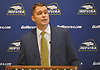 Rick Cole, newly named Hofstra University Athletic Director, speaks at his introductory news conference at the Hofstra University Club on Wednesday, March 28, 2018.