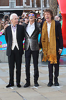 The Rolling Stones - Ronnie Wood, Mick Jagger &amp; Charlie Watts at the opening night gala of The Rolling Stones' &quot;Exhibitionism&quot; at the Saatchi Gallery. <br /> April 4, 2016  London, UK<br /> Picture: James Smith / Featureflash