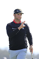 Jon Rahm (ESP) sinks his putt on the 6th green during Sunday's Final Round of the 2018 AT&amp;T Pebble Beach Pro-Am, held on Pebble Beach Golf Course, Monterey,  California, USA. 11th February 2018.<br /> Picture: Eoin Clarke | Golffile<br /> <br /> <br /> All photos usage must carry mandatory copyright credit (&copy; Golffile | Eoin Clarke)