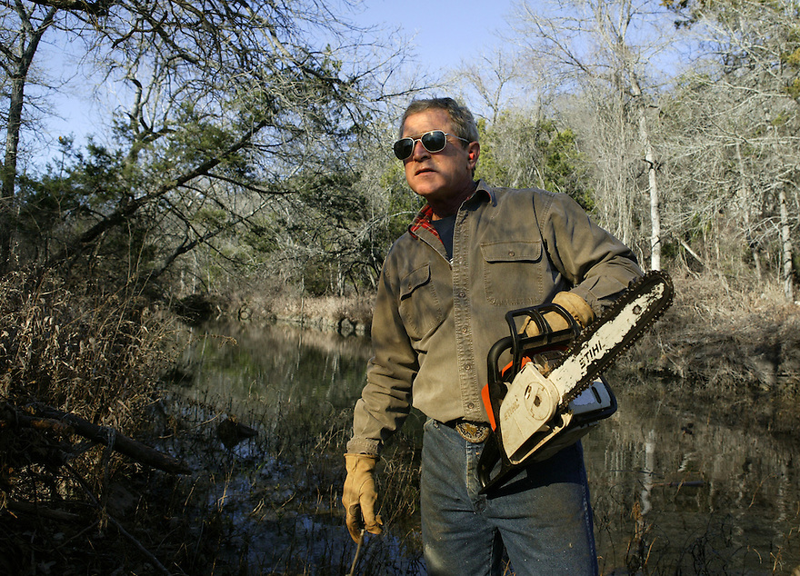 U.S. President George W. Bush clears cedar underbrush on the Bush Ranch in Crawford, Texas, December 29, 2003.    The cedar absorbs approximately a significant amount of the ground water, and can prevent healthily growth of hardwood trees and plants..Photo by Brooks Kraft/Corbis